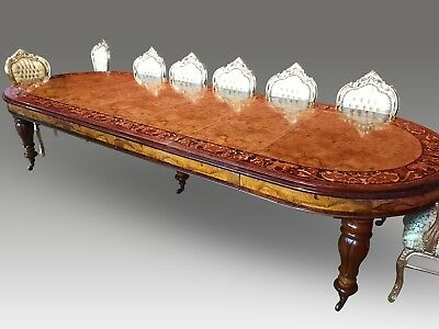 Wonderful Grand 12.5ft Burr Walnut Marquetry dining table pro French polished