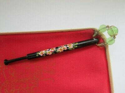 Vintage Signed PB Hand Painted Blosssom Green Spangle Craft Lacemaking Bobbin