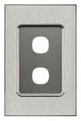 Clipsal SATURN SERIES GRID & PLATE ASSEMBLY 116x75mm 2-Gang HORIZON SILVER