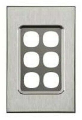 Clipsal SATURN SERIES GRID & PLATE ASSEMBLY 116x75mm 6-Gang HORIZON SILVER