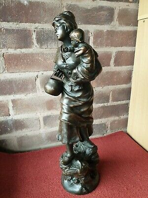 "Vintage Spelter Metal Tall 20"" Mother With Baby Figure Figurine Bronze Effect"