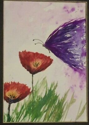 """Original watercolor painting 5"""" x 7""""  Butterfly"""