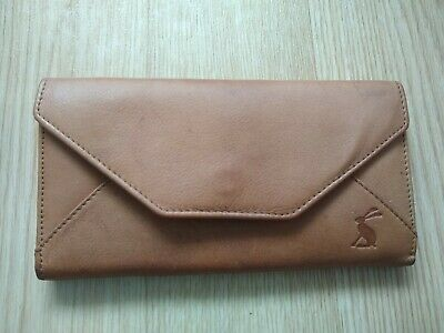 Joules Tan Leather Purse Zip And Card Compartments
