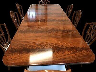 RARE EXQUISITE 9ft GRAND REGENCY STYLE FLAME MAHOGANY TABLE FRENCH POLISHED