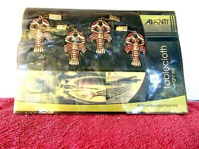 Avanti  Solid  Heavyweight Pewter  Tablecloth  4 Piece  Lobster  Weight  Set