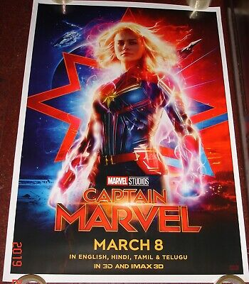 Captain Marvel (2019) Brie Larson Original Ds Poster Double Sided