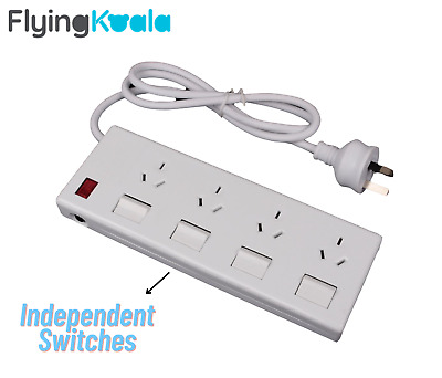 4 Outlet Power Board Overload Protection Individual Switch