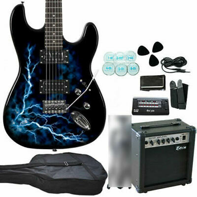 New Quality Electric Guitar & Guitar Amplifier (20W) BL Tuner Strap