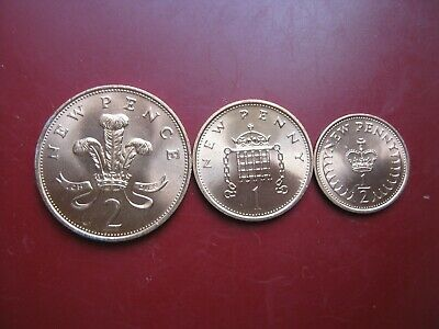 UK GB 1971 QEII UNC Half-Penny, Penny & Two 2 Pence - 3 Coins in Total