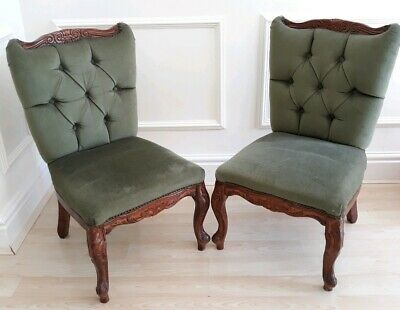 Vintage pair French louis style fab shape nursing chairs