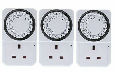 New 3 x 24 Hour Mains Plug-in Auto Timer Switch Clock Socket Uk 3 Pin Lights