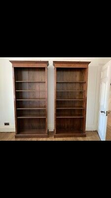 Matching Pair Of Regency Style Large Solid Wood Bookcases With Walnut Veneer