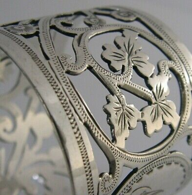Beautiful English Sterling Silver Art Nouveau Napkin Ring 1906 Antique Chester
