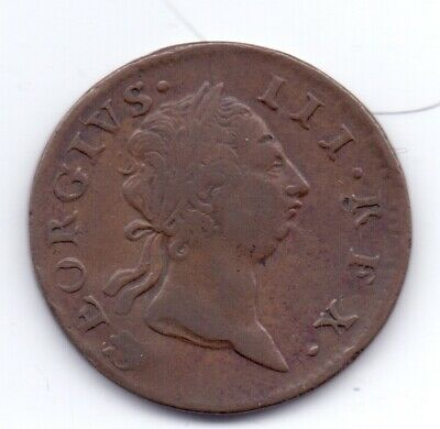 1769 Irish Copper Halfpenny Coin George III Ireland Eire