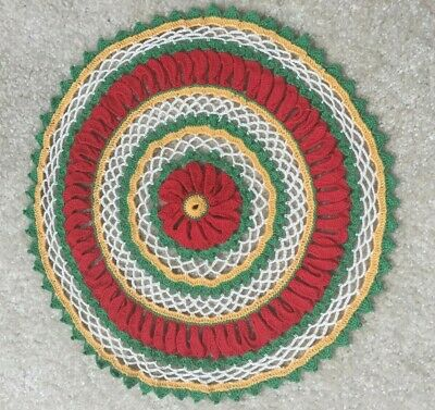 """13 1/2"""" Hand Crocheted Vintage Round Doily Red Green Yellow & White FREE SHIP"""