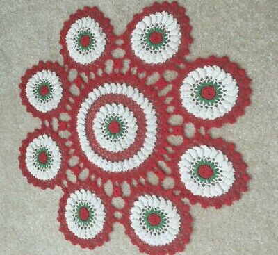 """22"""" Hand Crocheted Vintage Round Doily  Red, White & Green Raised FREE SHIP"""