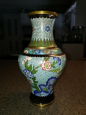Antique Chinese Cloisonne Baluster Vase w/ Flowers & Foliage Turquoise Ground 9""