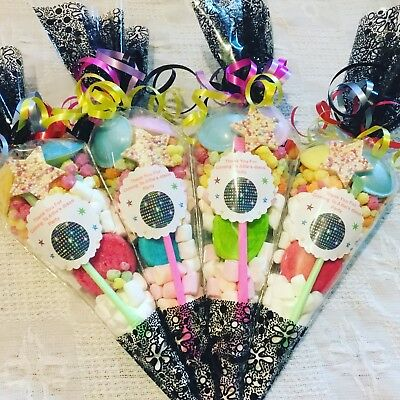 20 x Disco Themed Pre Filled Party Cones Personalised + Free Sweety Bag
