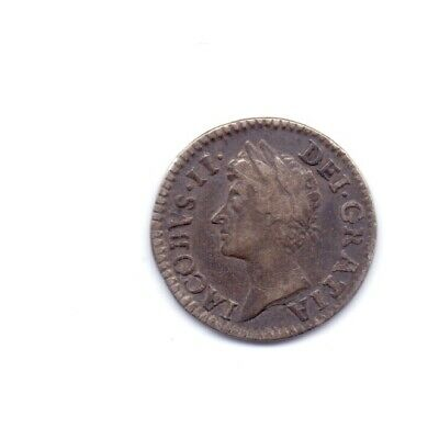 1687 King James II Silver Twopence Coin Early Milled 2d