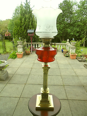 A Good Quality Victorian Ruby Twin Duplex Table Oil Lamp.