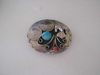 Belt Buckle Ram Southwest, 2 Nickles 1-Turquoise,1-Coral, Made In Usa G-19 Ksb