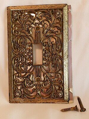 Vtg 60's Metal Switch Plate Cover Ornate Antique Gold Finish Filigree Brass Look