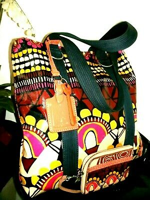 Fossil Key Per Lovely Ex-Large Multi Color Roomy Tote w/Matching Wristlet EUC!