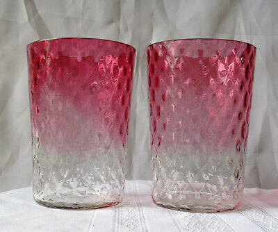 Antique Victorian Era Cranberry Glass Tumblers – Quilted Diamond – Ex. Condition