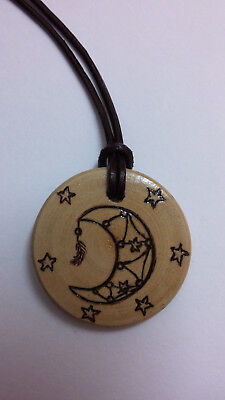Moon Dreamcatcher Handcrafted Wood Necklace Boho Wiccan Style Pendant