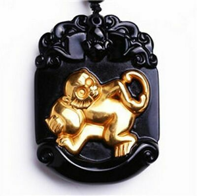 Beautiful Chinese Natural Black Obsidian Carved Gold Color Kwan-Yin Lucky Amulet