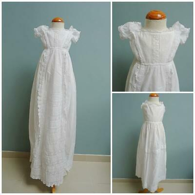 Antique Christening Dress Gown Petticoat Victorian Babys Embroidered Whitework