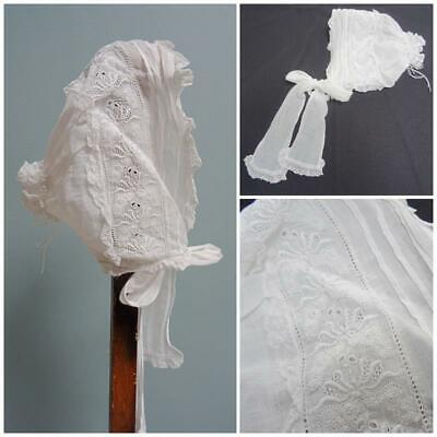 Antique Babys Bonnet Cap Victorian Embroidered Lace White Muslin Floral Frill