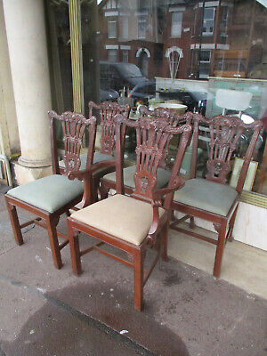 Set Of Five Georgian Style Carved Mahogany Kitchen Dining Chairs