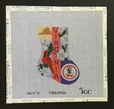 "In Good Company Giclee Needlepoint Canvas Colorful ""VIRGINIA"" Mini Stocking"