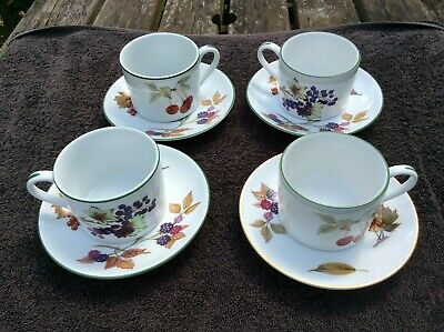 Royal Worcester Evesham bone china coffee cups and saucers set of 4 cherry fruit