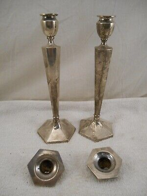 "2 - ANTIQUE STERLING SILVER CANDLE STICK HOLDERS WEIGHTED 10"" ( 837.2 g )"