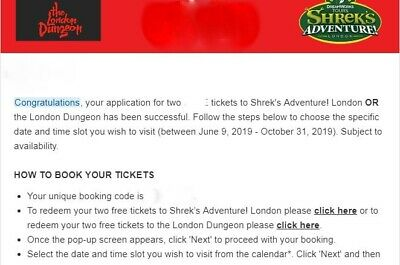 2 x Two Shrek or London Dungeon Tickets Any Date from June to October 2019