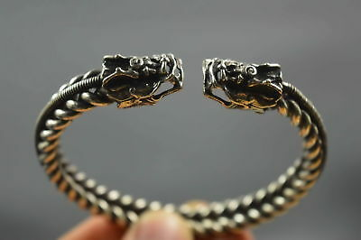 Collectable Exorcism Old Tibet Chinese Miao Silver Carve Dragon Noble Bracelets
