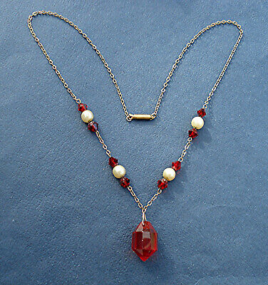 ART DECO NECKLACE RED GLASS DROP WITH PEARLS & BICONES VINTAGE Tube Clasp 1930s
