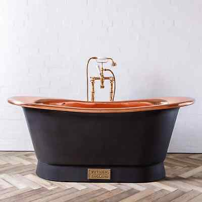 Witt & Berg Copper Bateau Bathtub - Charcoal Exterior / Polished Copper Interior