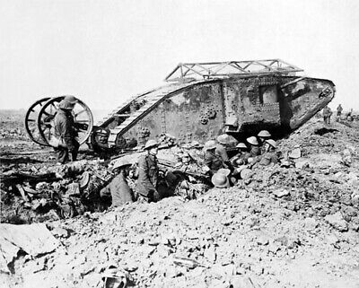 WWI British Mark I Tank in Somme September 25, 1916 Photo