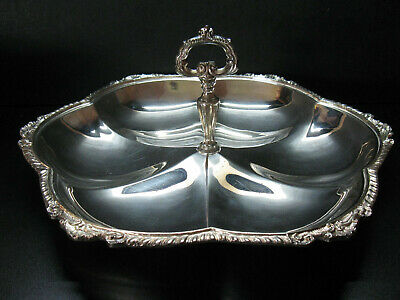 Vintage Sheridan Silver Plate Handled Round Serving Tray 12 in. Diameter