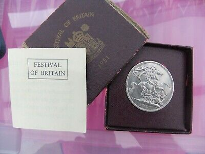 FESTIVAL OF BRITAIN 1951 CROWN/FIVE SHILLING COINS BOXED with cert.