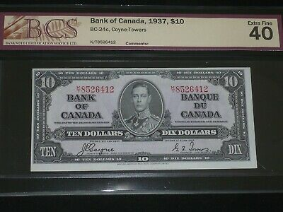 1937 Bank Of Canada $ 10  BCS 40 Extra Fine Coyne/Towers