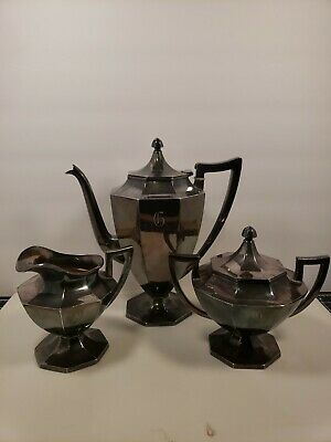 Vintage Wilcox S.P. Co. Silver Plate Tea Pot Sugar and cream Set monogrammed