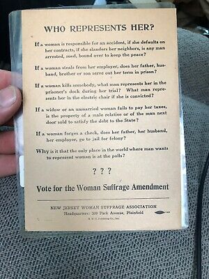 VERY RARE Vote For Woman Suffrage Amendment New Jersey Flyer