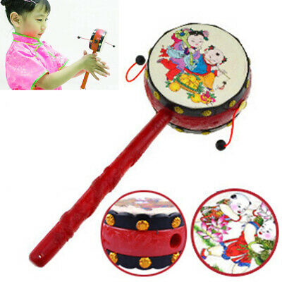 Cute Chinese Style Hand Bell Shaking Rattle Drum Baby Kids Musical Instrument