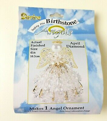 April Clear Beaded Safety Pin ANGEL Christmas Ornament KIT 4 Inch SEALED Bead