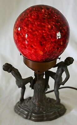 ANTIQUE ART DECO DESK LAMP WITH FIERY GLASS GLOBE AND DANCING GIRLS * 1920's *