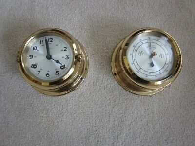 Vintage Brass Ship's Clock and Matching Barometer by Wempe of Hamburg, Germany